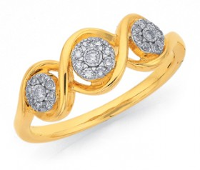 9ct-Gold-Two-Tone-Diamond-Triple-Cluster-Swirl-Ring on sale