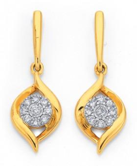 9ct-Gold-Two-Tone-Diamond-Cluster-Swirl-Drop-Stud-Earrings on sale