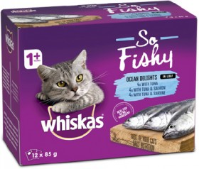 Whiskas-12-Pack-Oh-So-Fishy-Cat-Food-Pouch-85g-Ocean-Platter-in-Jelly on sale