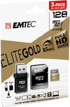 Emtec-3-Pack-Micro-SD-Card-with-Adaptor-128GB-Gold on sale