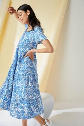 Emerge-Linen-Blend-Tiered-Midi-Dress on sale