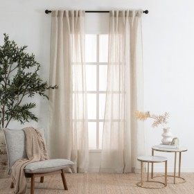 Marina-Sheer-Parchment-Curtain-Pair-by-Habitat on sale