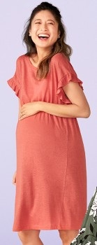 NEW-Brilliant-Basics-Ruffle-Sleeve-Maternity-Dress on sale
