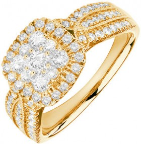 Cluster-Halo-Ring-with-1-Carat-TW-of-Diamonds-in-10ct-Yellow-Gold on sale