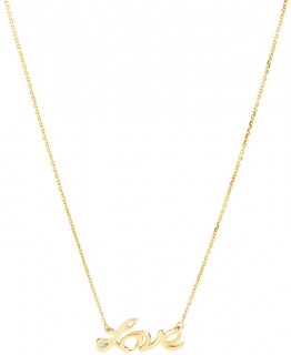 NEW-Love-Necklace-with-Diamonds-in-10ct-Yellow-Gold on sale