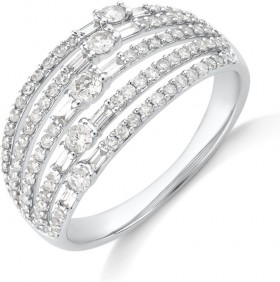 NEW-Multi-Row-Ring-with-075-Carat-TW-Diamond-in-10ct-Yellow-Gold on sale