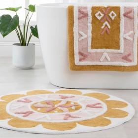 Folk-Flower-Mustard-Bath-Mat-Range-by-Habitat on sale