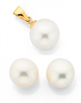 9ct-Gold-Cultured-Freshwater-Pearl-Stud-Pendant-Set on sale