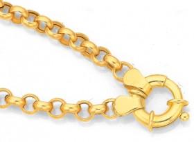 9ct-Gold-19cm-Hollow-Belcher-Bolt-Ring-Bracelet on sale