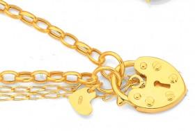 9ct-Gold-19cm-Hollow-Belcher-Padlock-Bracelet on sale