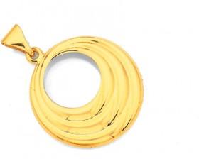 9ct-Gold-18mm-Multi-Ridged-Circle-Pendant on sale