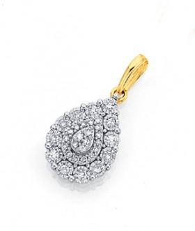 9ct-Gold-Two-Tone-Diamond-Pear-Shaped-Pendant on sale