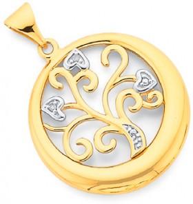 9ct-Gold-Diamond-Heart-Tree-of-Life-Pendant on sale