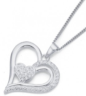 Sterling-Silver-Pave-Cubic-Zirconia-Heart-Pendant on sale