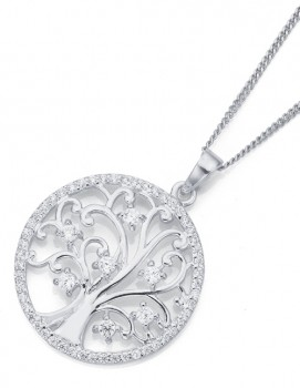 Sterling-Silver-Cubic-Zirconia-Tree-of-Life-Pendant on sale