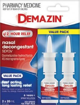 NEW-Demazin-Nasal-Decongestant-Spray-Value-Pack-2-x-20mL on sale