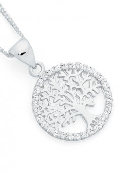 Sterling-Silver-Tree-Of-Life-In-CZ-Circle-Pendant on sale