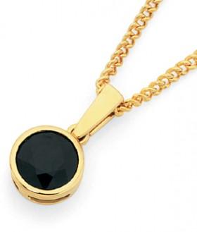 9ct-Gold-Black-Sapphire-Bezel-Set-Pendant on sale