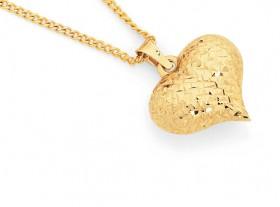 9ct-Gold-Diamond-cut-Puff-Heart-Pendant on sale