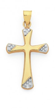 9ct-Gold-Two-Tone-21mm-Fluted-Cross-Pendant on sale