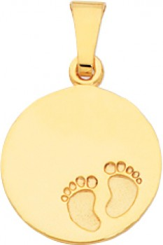 9ct-Gold-12mm-Baby-Feet-Disc-Pendant on sale