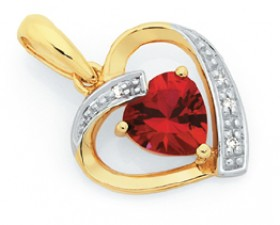 9ct-Gold-Created-Rubies-Diamond-Pendant on sale