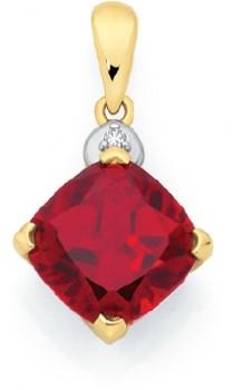 9ct-Gold-Created-Ruby-Diamond-Pendant on sale