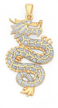 9ct-Gold-Diamond-Dragon-Pendant on sale