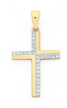 9ct-Gold-Diamond-Cross-Pendant on sale