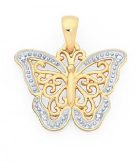 9ct-Gold-Diamond-Butterfly-Pendant on sale