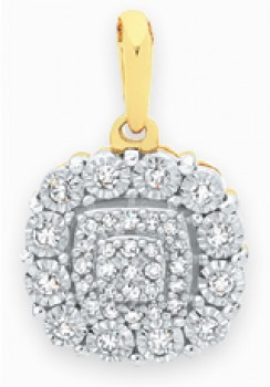 9ct-Gold-Two-Tone-Diamond-Cushion-Cluster-Pendant on sale