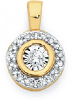 9ct-Gold-Diamond-Round-Halo-Pendant on sale