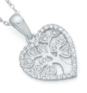 Sterling-Silver-CZ-Tree-Of-Life-In-Flat-Heart-Pendant on sale