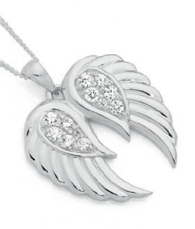 Sterling-Silver-CZ-Pave-Angel-Wings-Pendant on sale