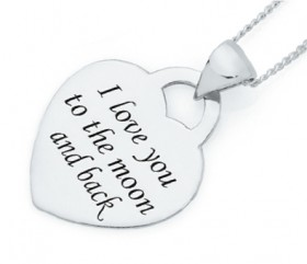 Sterling-Silver-To-The-Moon-Back-Heart-Disc-Pendant on sale