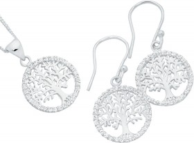 Sterling-Silver-Tree-Of-Life-In-CZ-Circle-Pendant-Earrings-Set on sale