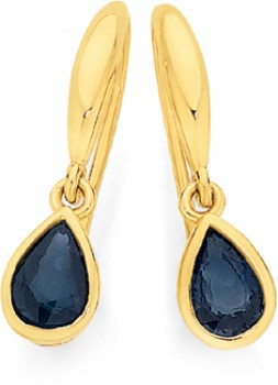 9ct-Gold-Natural-Sapphire-Pear-Hook-Earrings on sale