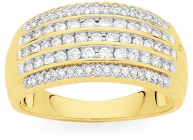 9ct-Gold-Wide-Diamond-Multi-Row-Dress-Ring on sale