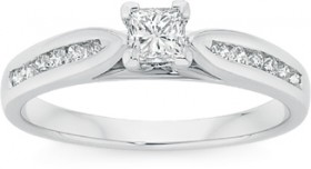 9ct-White-Gold-Diamond-Engagement-Ring on sale