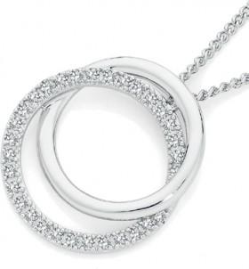 9ct-Gold-Diamond-Circles-of-Love-Pendant on sale