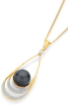 9ct-Gold-Cultured-Tahitian-Pearl-Diamonds-Open-Triple-Teardrop-Pendant on sale