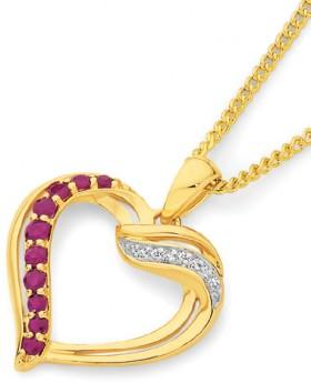 9ct-Gold-Ruby-Diamond-Open-Heart-Pendant on sale