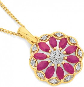 9ct-Gold-Natural-Ruby-Diamond-Wreath-Flower-Pendant on sale