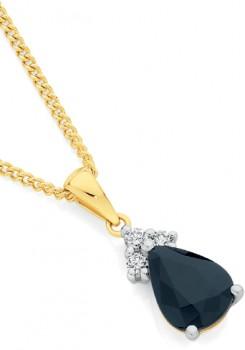 9ct-Gold-Black-Sapphire-Diamond-Pear-Pendant on sale