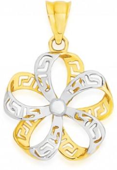 9ct-Gold-Two-Tone-Greek-Key-Flower-Pendant on sale