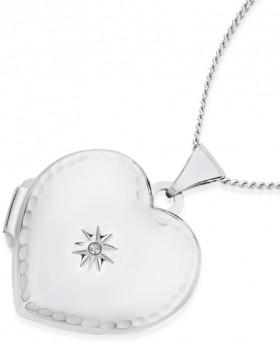Sterling-Silver-Diamond-Heart-Locket on sale