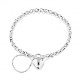 NEW-19cm-Heart-Padlock-Belcher-Bracelet-in-Sterling-Silver on sale