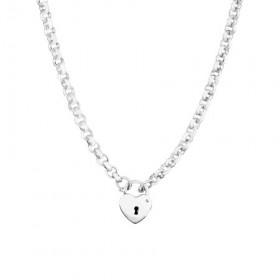 45cm-Heart-Padlock-Belcher-Necklace-in-Sterling-Silver on sale