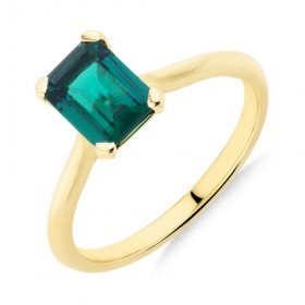 Ring-with-Created-Emerald-in-10ct-Yellow-Gold on sale