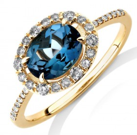 NEW-Natural-Topaz-Ring-with-025-Carat-TW-of-Diamonds-in-10ct-Yellow-Gold on sale